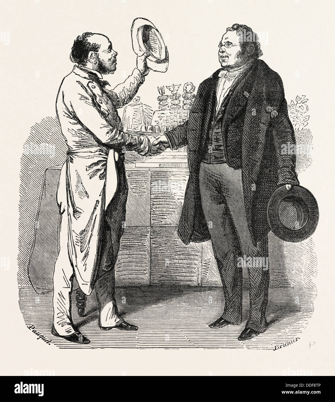 The cook and the doctor. Fable. engraving 1855 - Stock Image