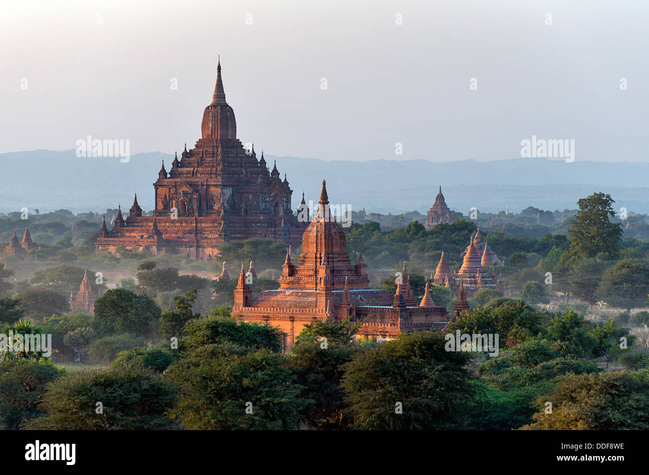 Stupas, monasteries and pagodas in Bagan Archaeological Zone Myanmar - Stock Image