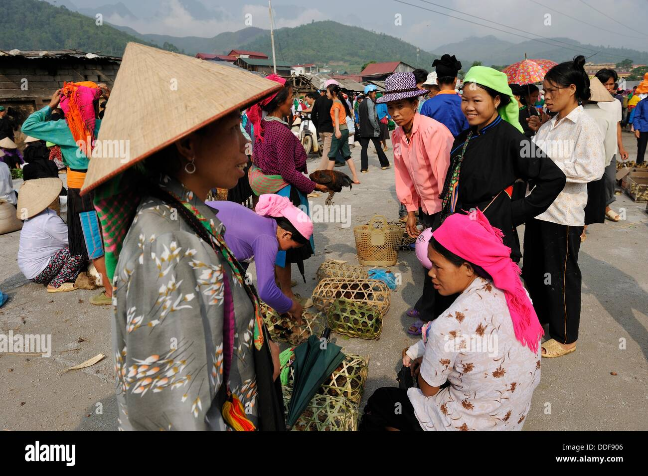 women from ethnic minority at the market of Yen Minh, Ha Giang province, Northern Vietnam, southeast asia - Stock Image