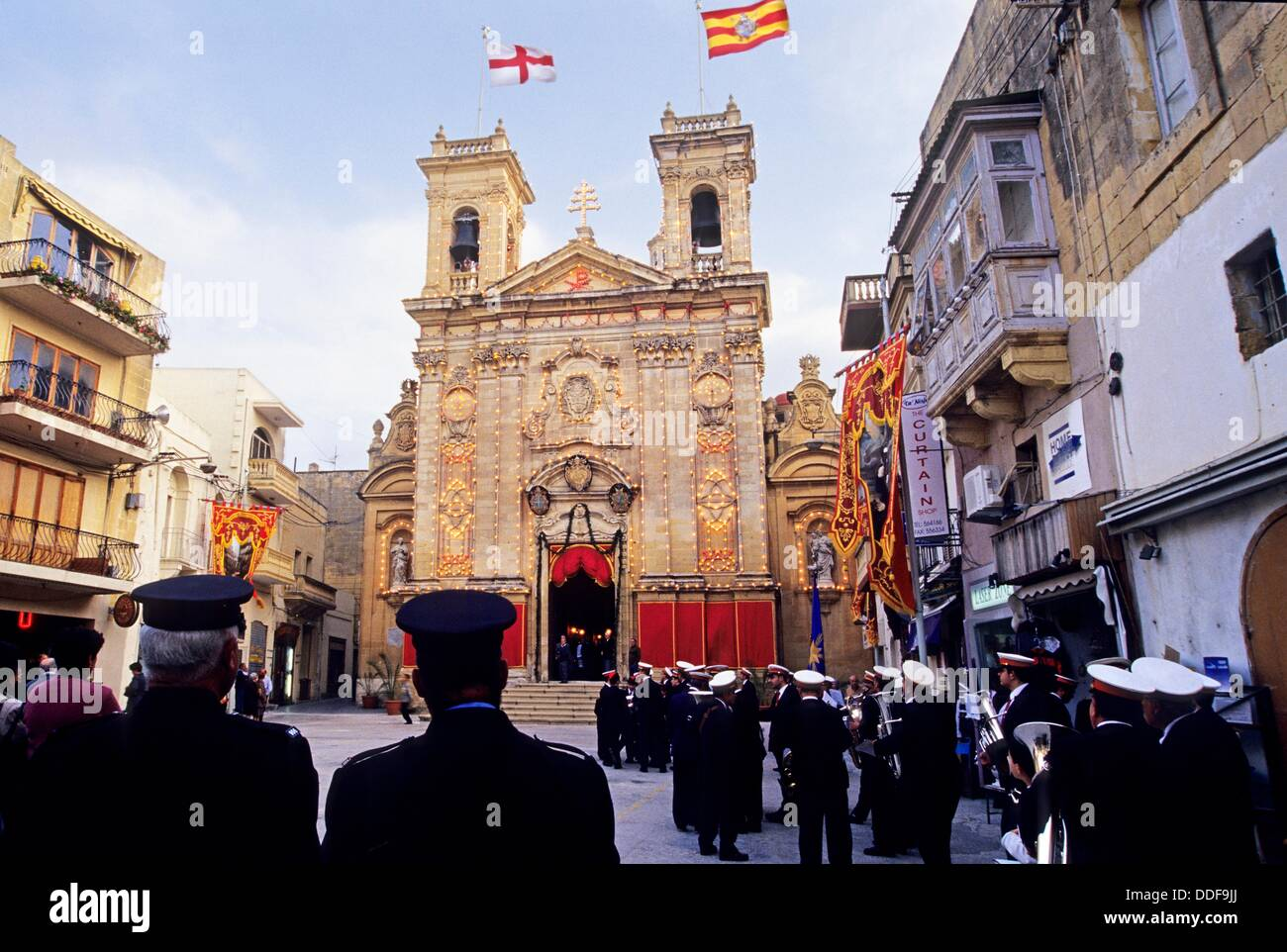 brass band in front of the St George´s Basilica, Victoria, Gozo, Malta, Mediterranean Sea, Europe - Stock Image