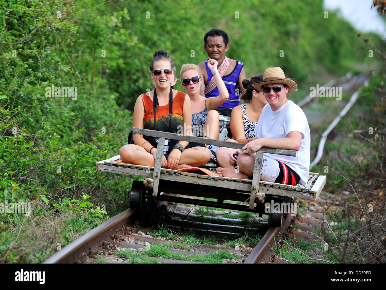 The Bamboo Train Tourist Ride At Battambang Cambodia