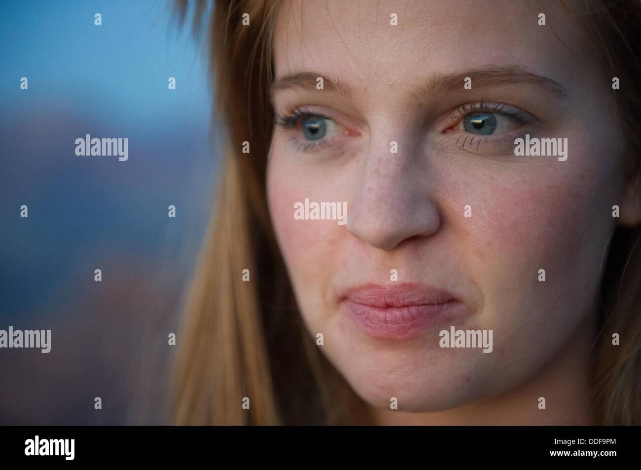 Close-up oung Woman Gazing Stock Photo