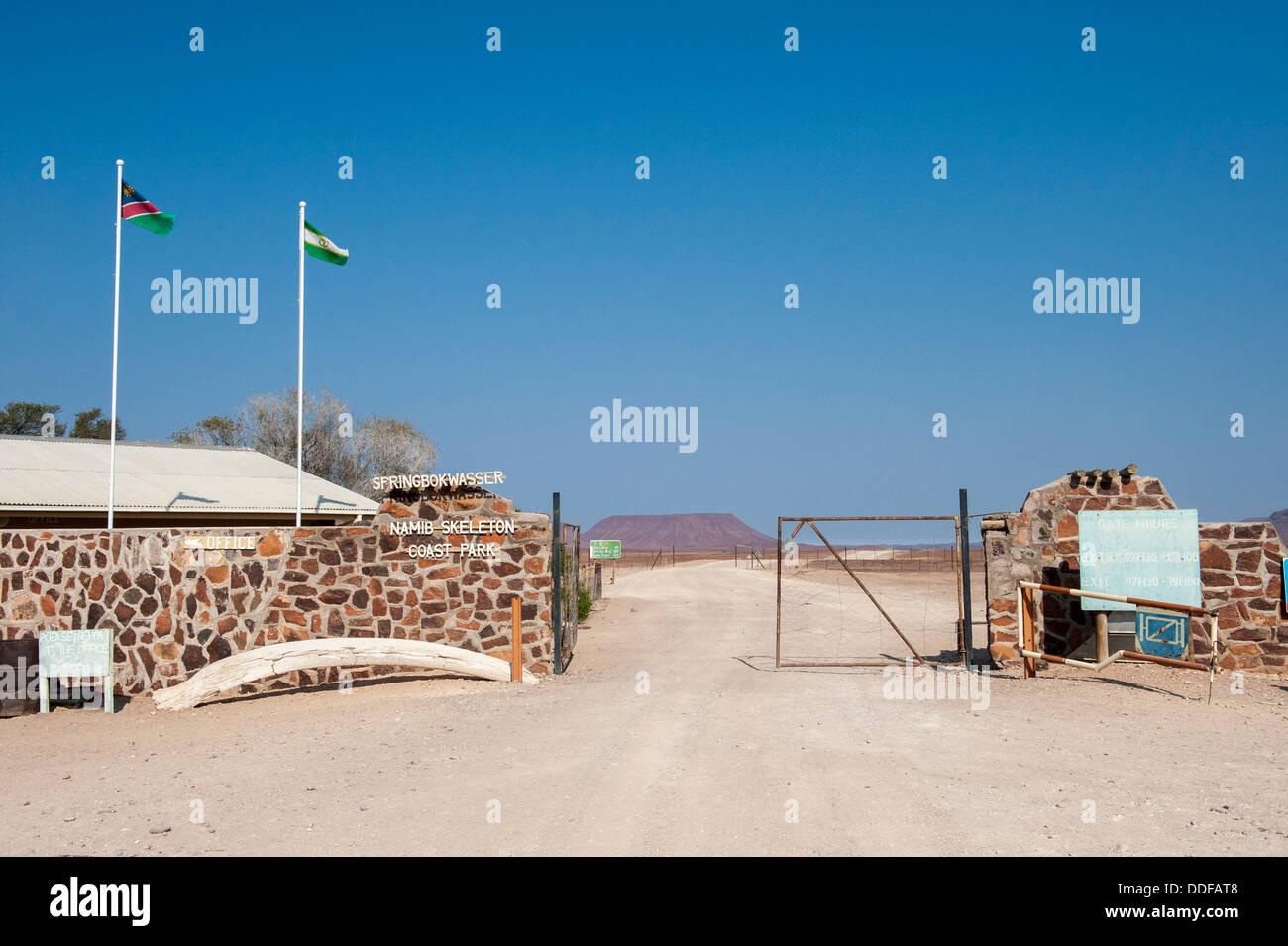 Entrance of Namib Skeleton Coast Park at Springbokwasser, Namibia - Stock Image