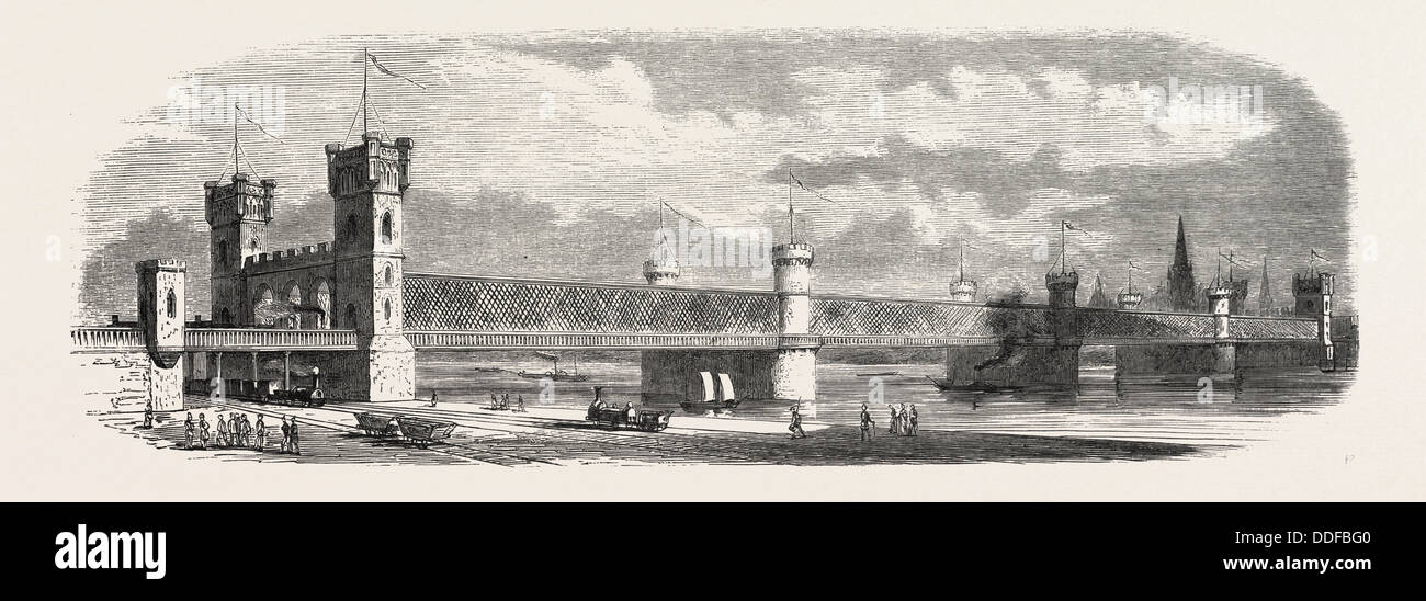 Railway Erquelines Saint-Quentin: The new bridge of Cologne, 1855. Engraving - Stock Image