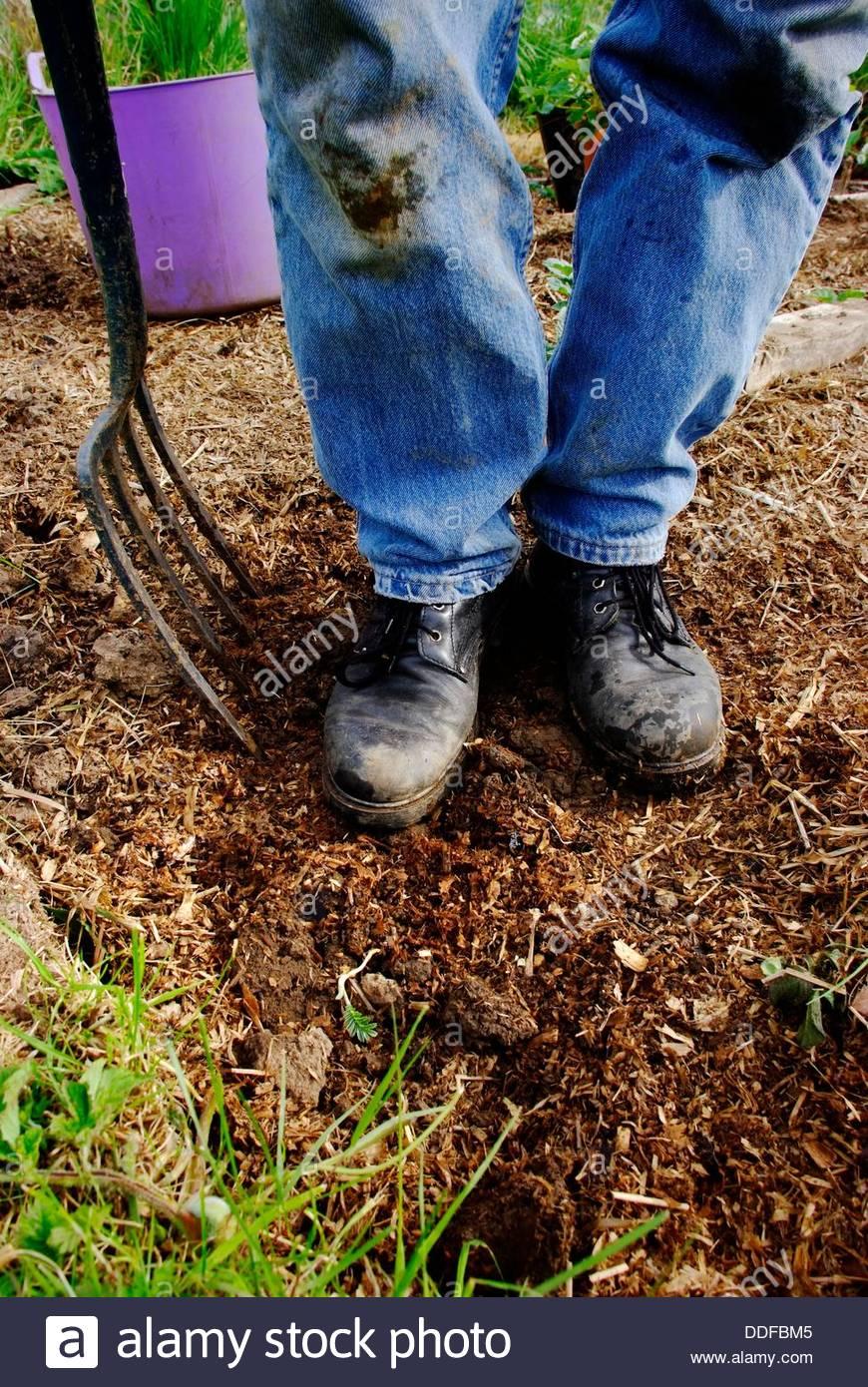 Legs Feet Gardener Dirty Boots Stock Photos & Legs Feet Gardener ...