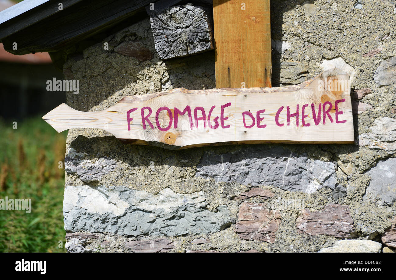 Fromage de chèvre, Goat's cheese sign, France - Stock Image