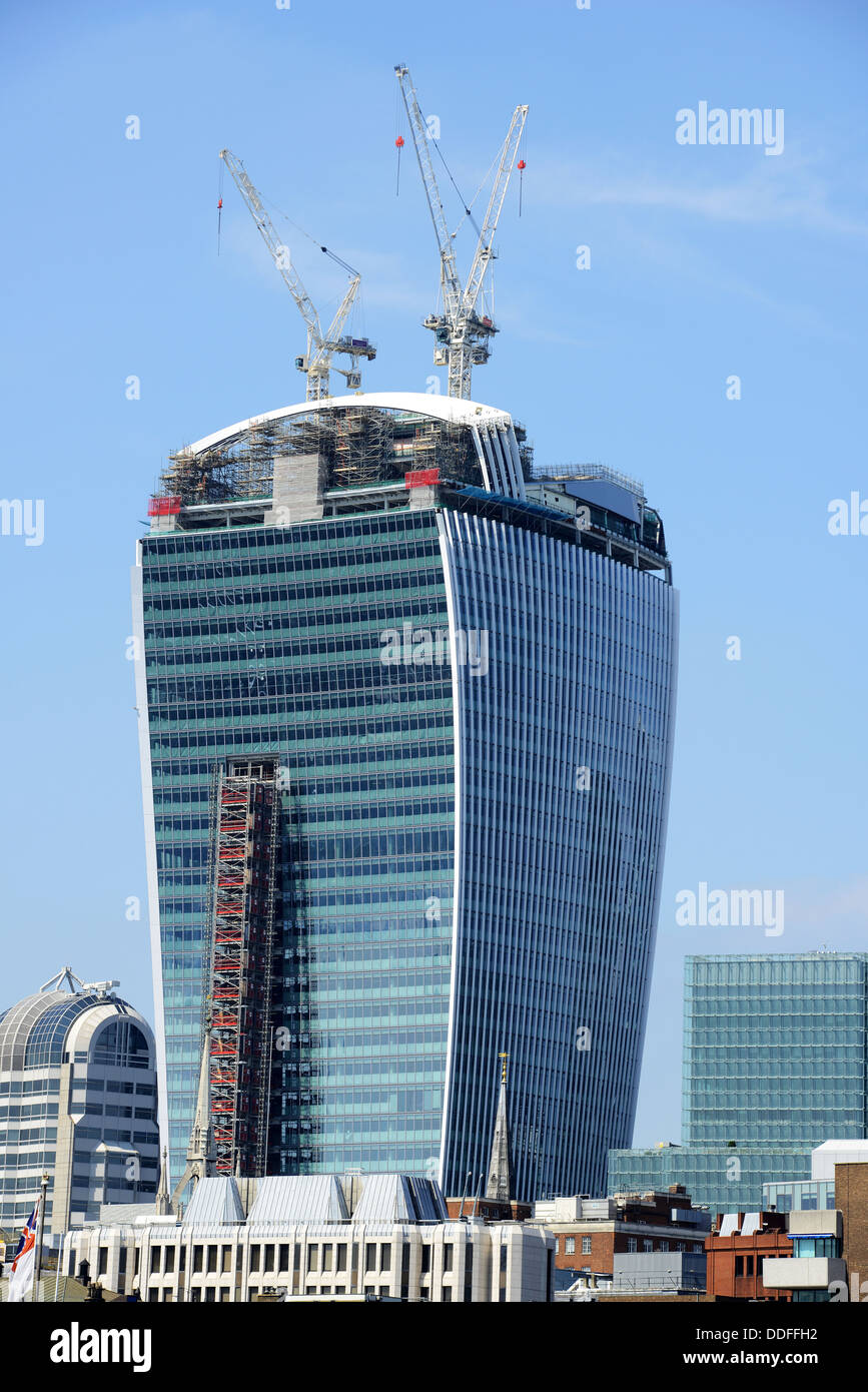 Walkie talkie building during construction at 20 Fenchurch Street City of London, England, UK - Stock Image