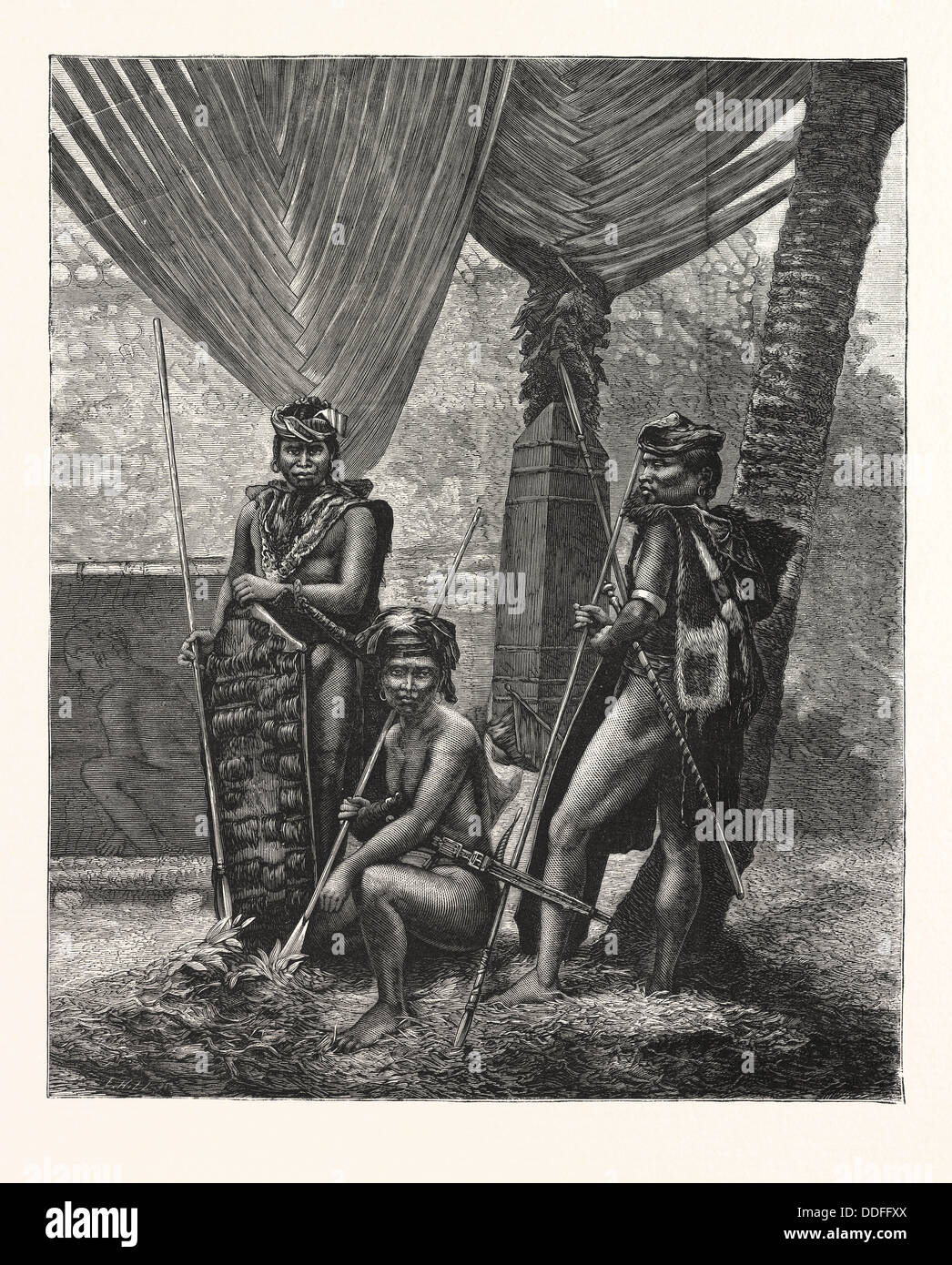 RECENT PIRACY AT THE STRAITS SETTLEMENTS : DYAKS OF BORNEO, ENGRAVING 1876 - Stock Image