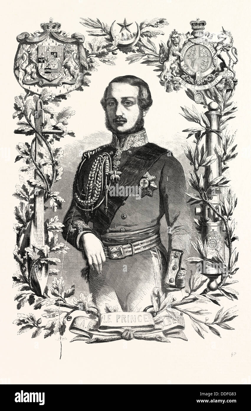 Prince Albert. The Prince Consort of Queen Victoria. engraving 1855 - Stock Image
