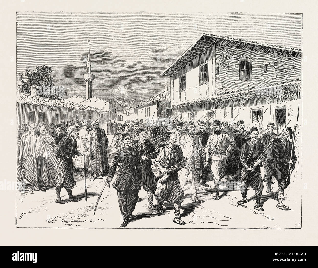 THE WAR: A PARTY OF INSURGENTS BEING CONDUCTED TO PRISON BY THE TURKS, ENGRAVING 1876 Stock Photo