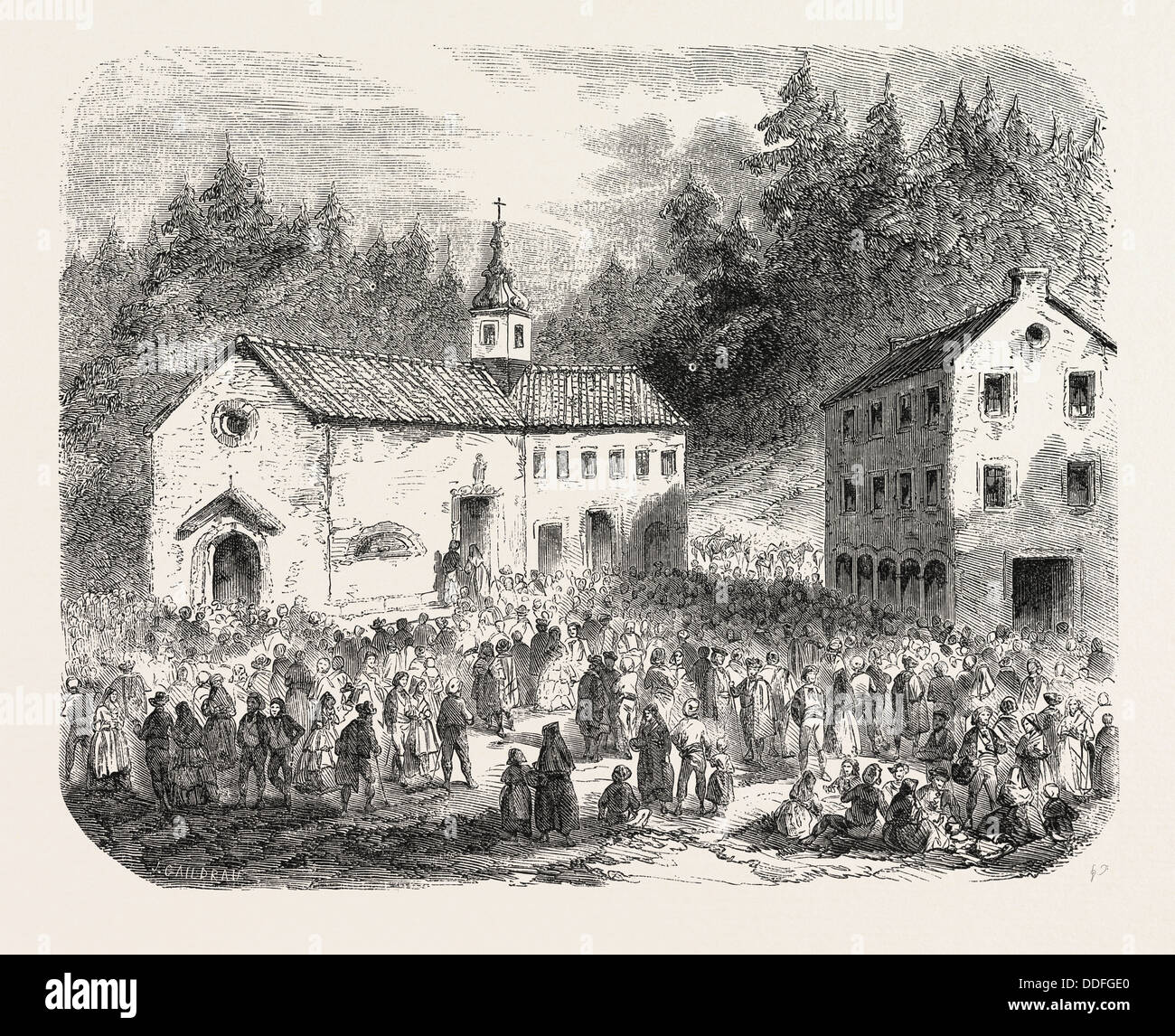 Fete of the Nativity of Our Lady: Pilgrimage to Our Lady of Font-Romeu (Pyrenees-Orientales), France, 1855. Engraving - Stock Image