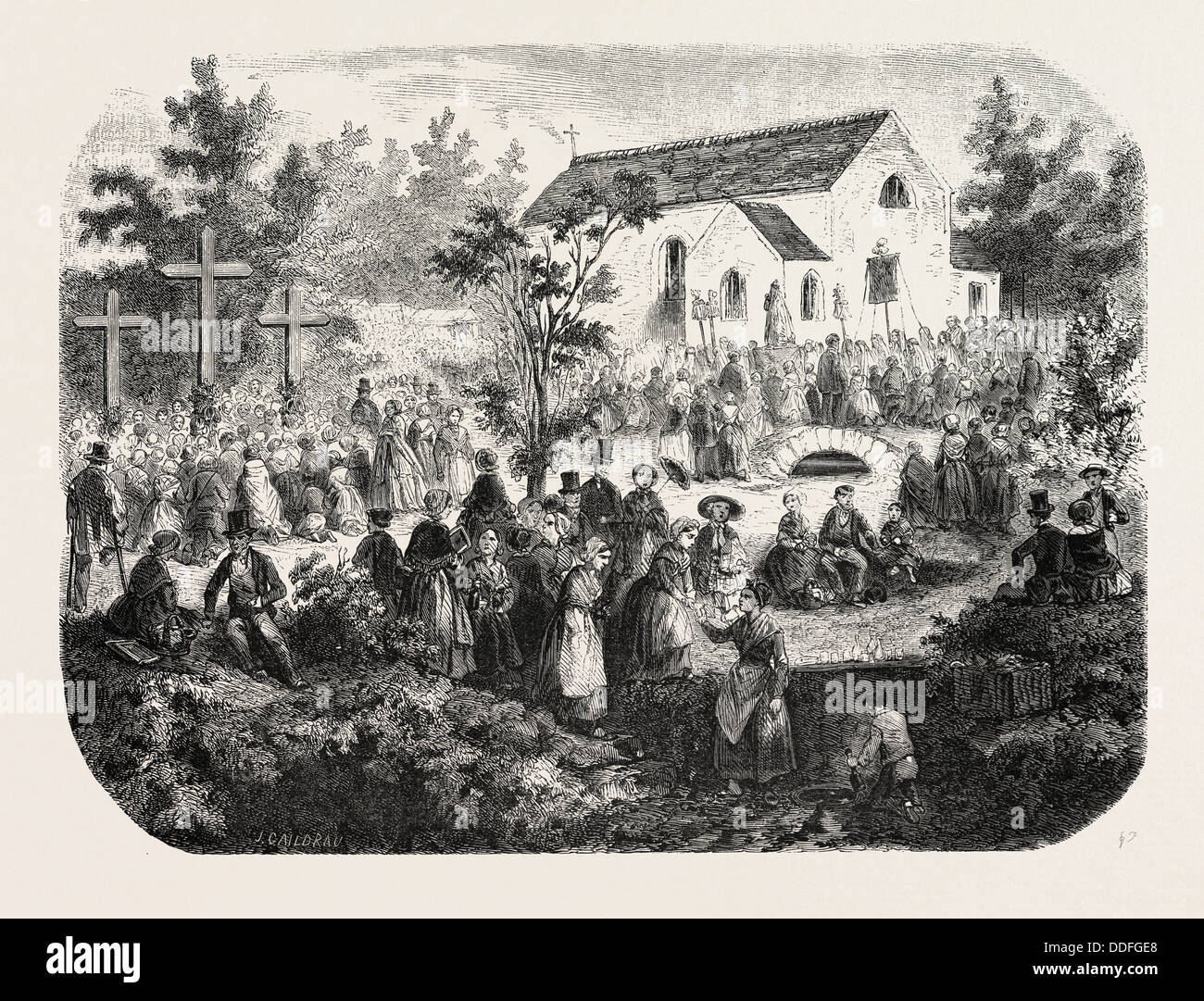 Fete of the Nativity of Our Lady: Pilgrimage to Our Lady of the Angels, Livry (Seine-et-Oise), France, 1855. Engraving - Stock Image