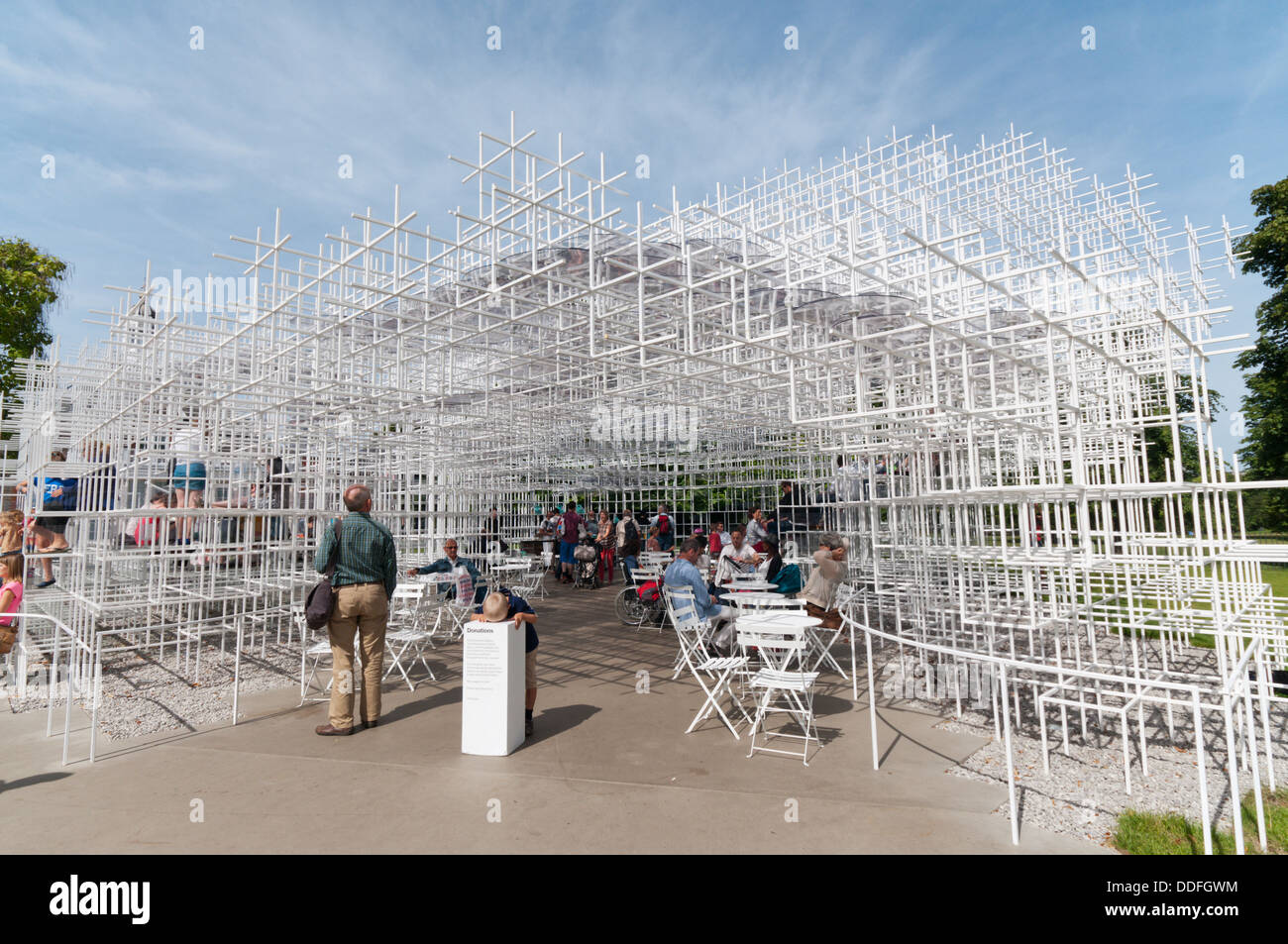 The entrance to the 2013 Serpentine Gallery Summer Pavilion designed by the Japanese architect Sou Fujimoto. - Stock Image