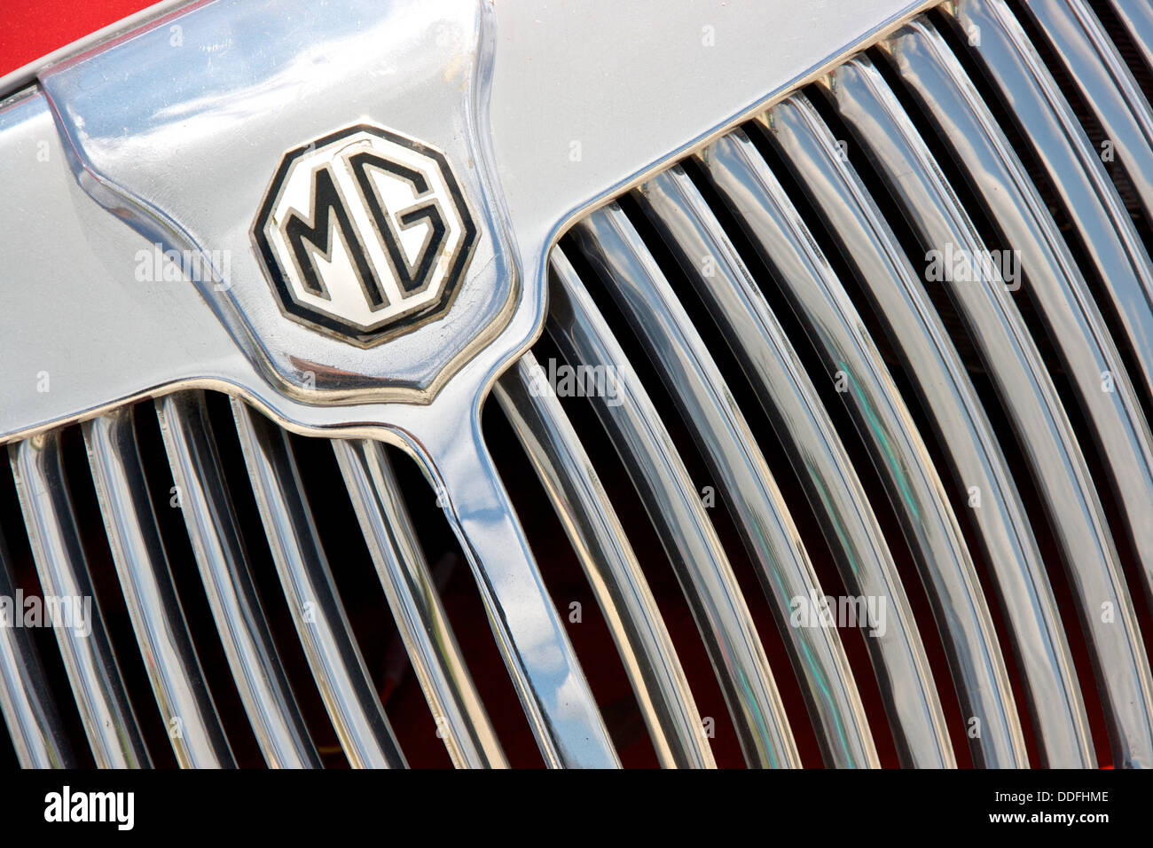 1950's MG sports car front chrome grill and badge marque close-up - Stock Image