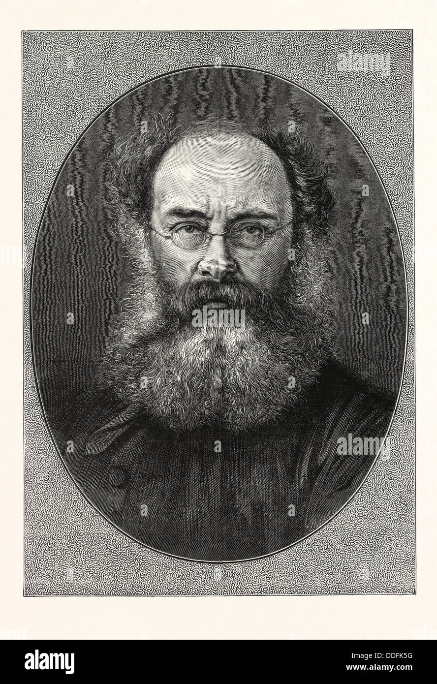 MR. ANTHONY TROLLOPE, 24 April 1815 – 6 December 1882, English novelist of the Victorian era, ENGRAVING 1876, UK, - Stock Image
