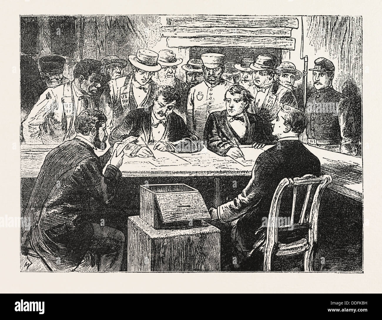 PRESIDENTIAL ELECTION, COUNTING THE VOTES, ENGRAVING 1876, US, USA, America, United States, ELECTIONS, VOTING - Stock Image
