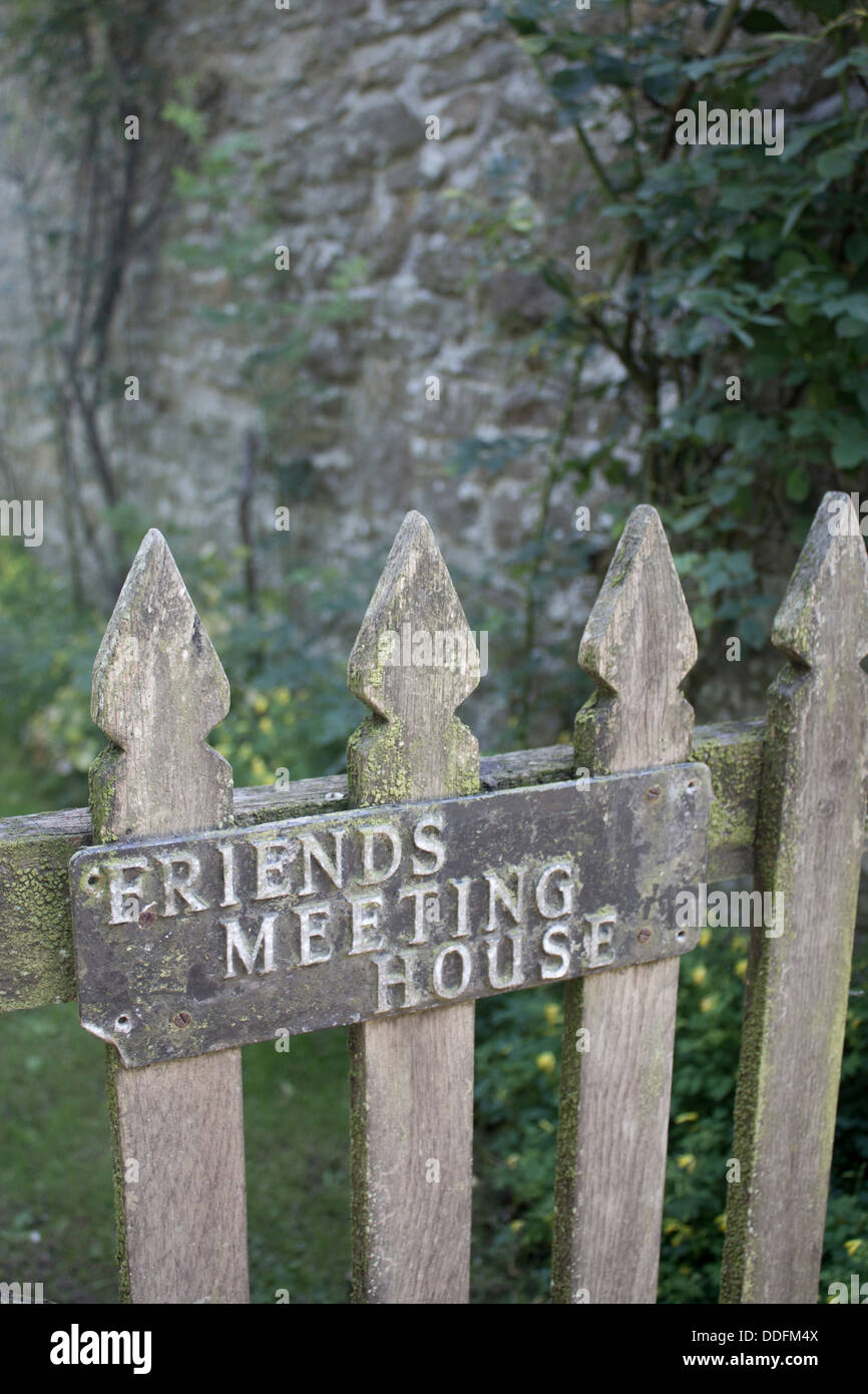 The Pales Quaker meeting house 'Friends Meeting House' sign on wooden gate Near Llandegley Radnoershire Powys Mid Stock Photo