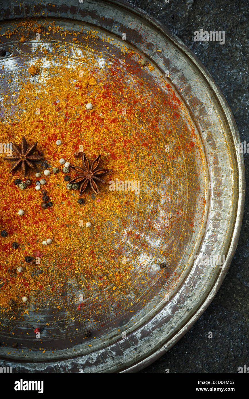 Spices on plate - Stock Image
