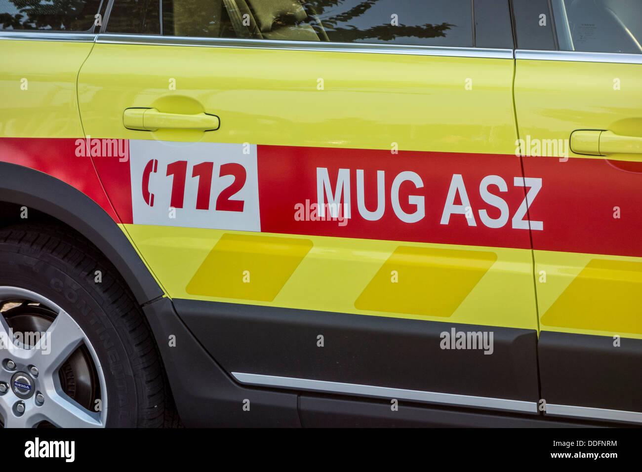 Car of the Belgian Mobile Intensive Care Unit / MICU / MUG or Mobile Urgency Group, Belgium - Stock Image