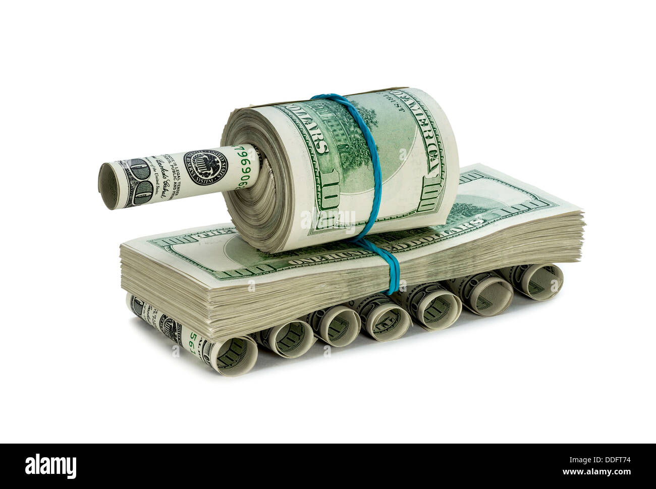 Tank made of money - Stock Image