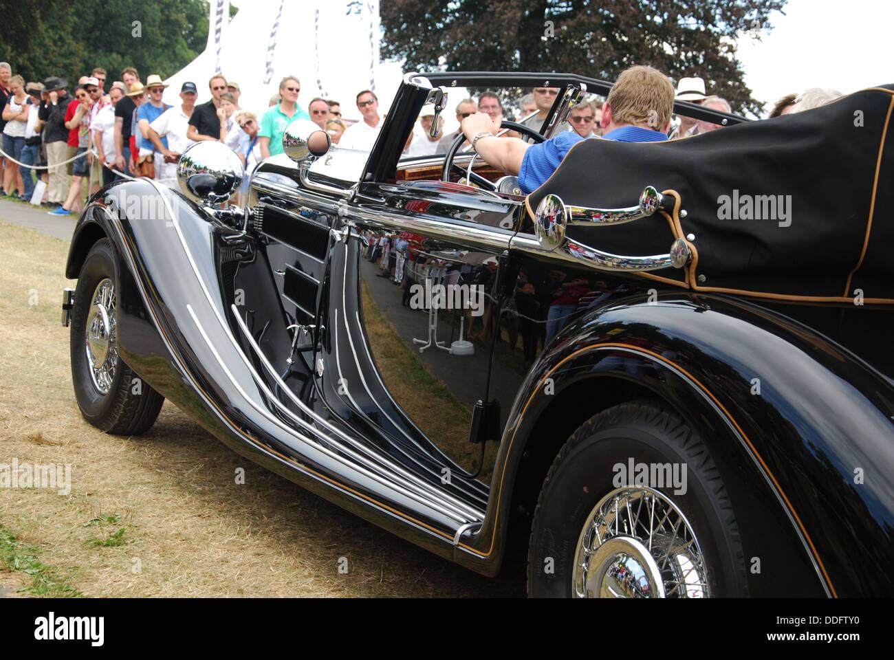 late thirties Horch 853 Cabrio at Classic Days 2013 at Dyck Castle near Düsseldorf, North Rhine Westphalia, - Stock Image