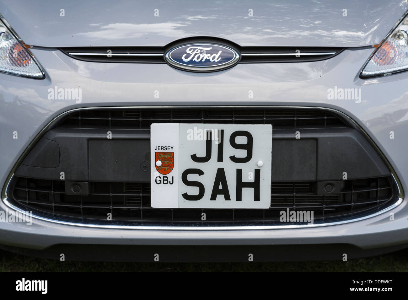 Jersey registration plate on a private car - Stock Image