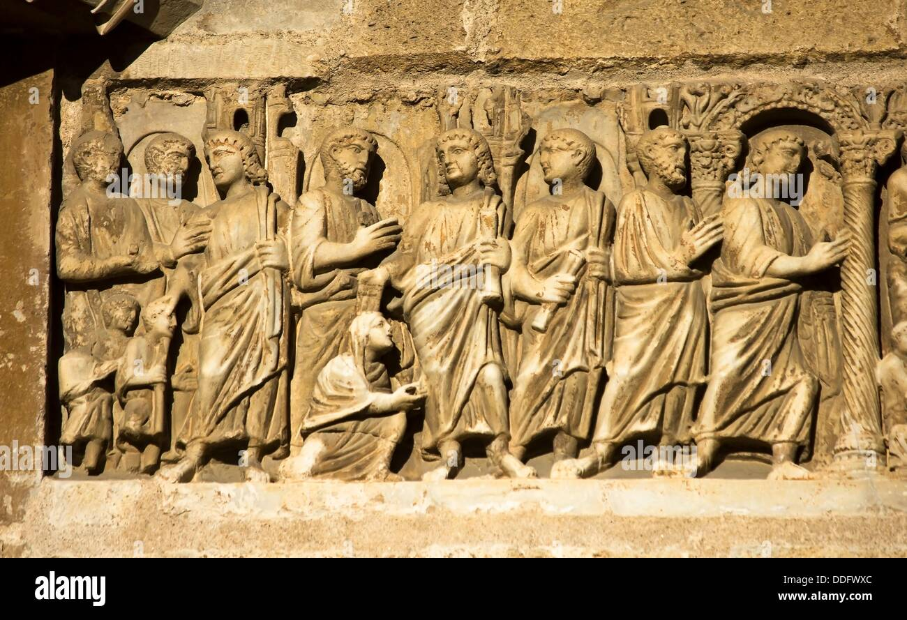 Early Christian Sarcophagus embedded in the wall of the front of the ...