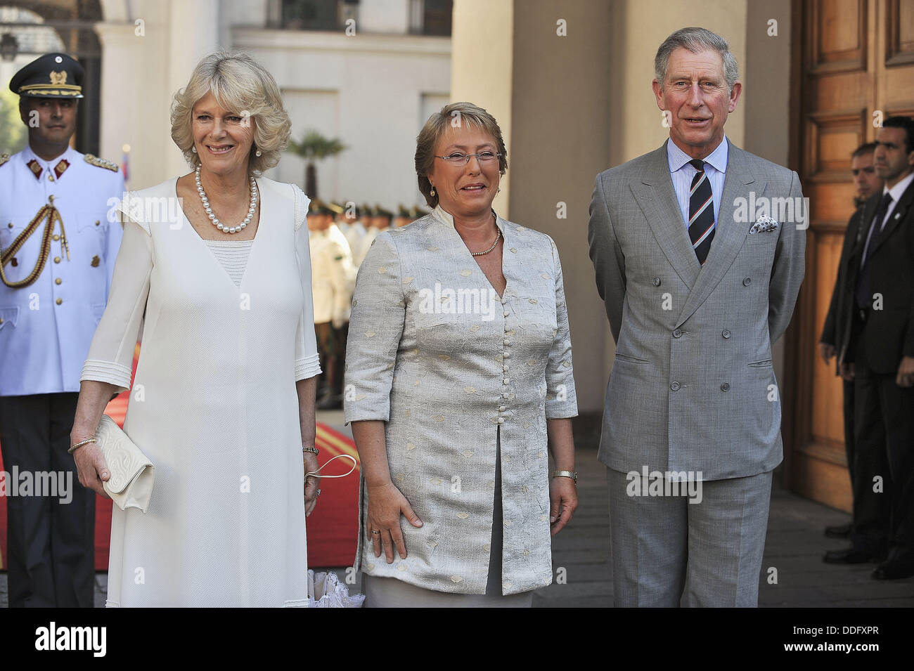Santiago Chile march 09 2009 Prince Charles of England with the Duchess of Cornwall will meet with President Michelle Stock Photo
