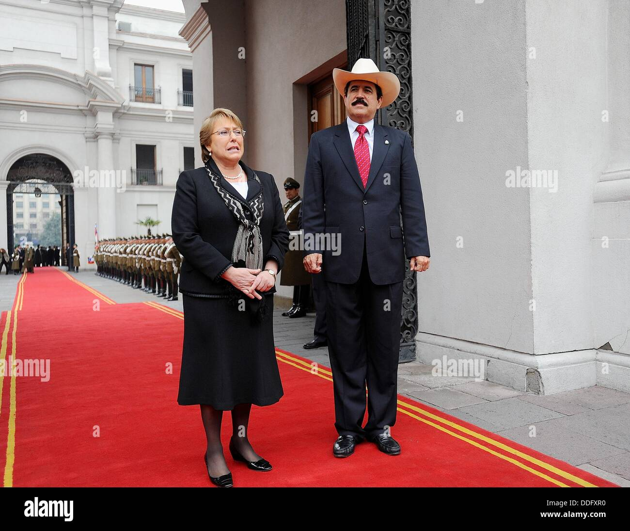 President Michelle Bachelet receives ousted President Manuel Zelaya of Honduras in Latin America tour seeking support to be Stock Photo