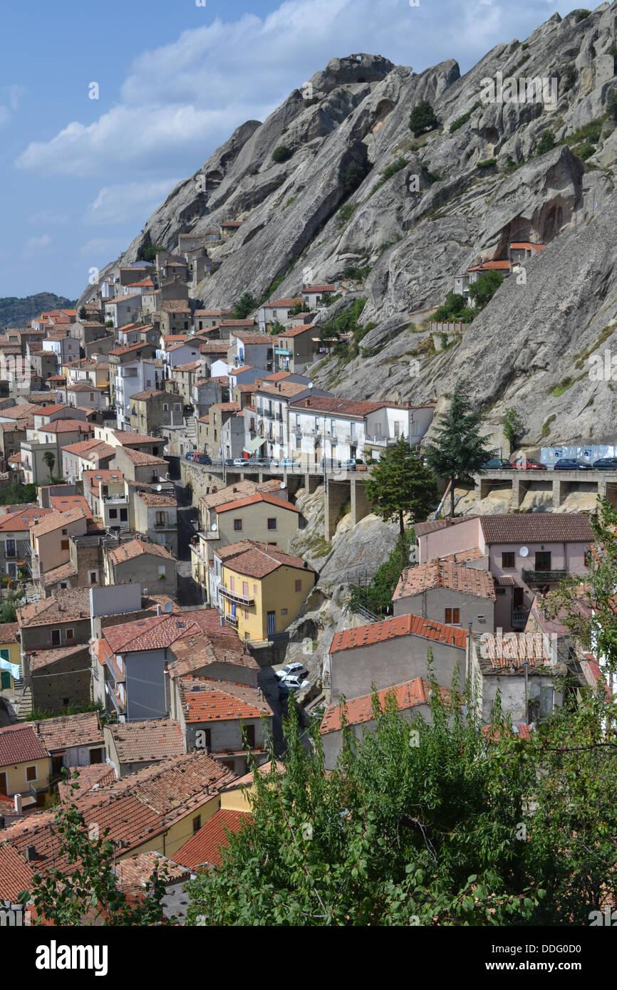 Houses, Pietrapertosa village, Basilicata, South Italy. In Gallipoli Cognato National Park. Dolomiti Lucane mountain Stock Photo