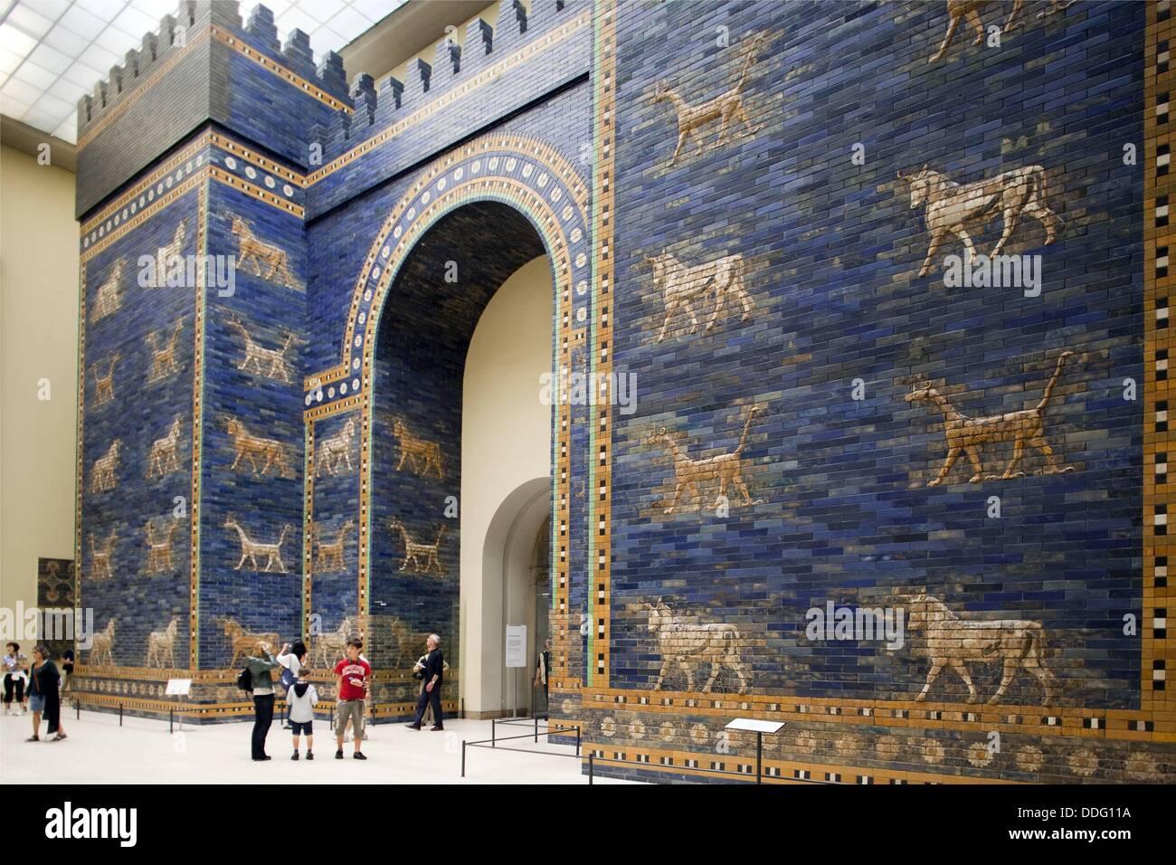 Ishtar Gate of the ancient city of Babylon, Pergamon Museum, Berlin, Germany Stock Photo