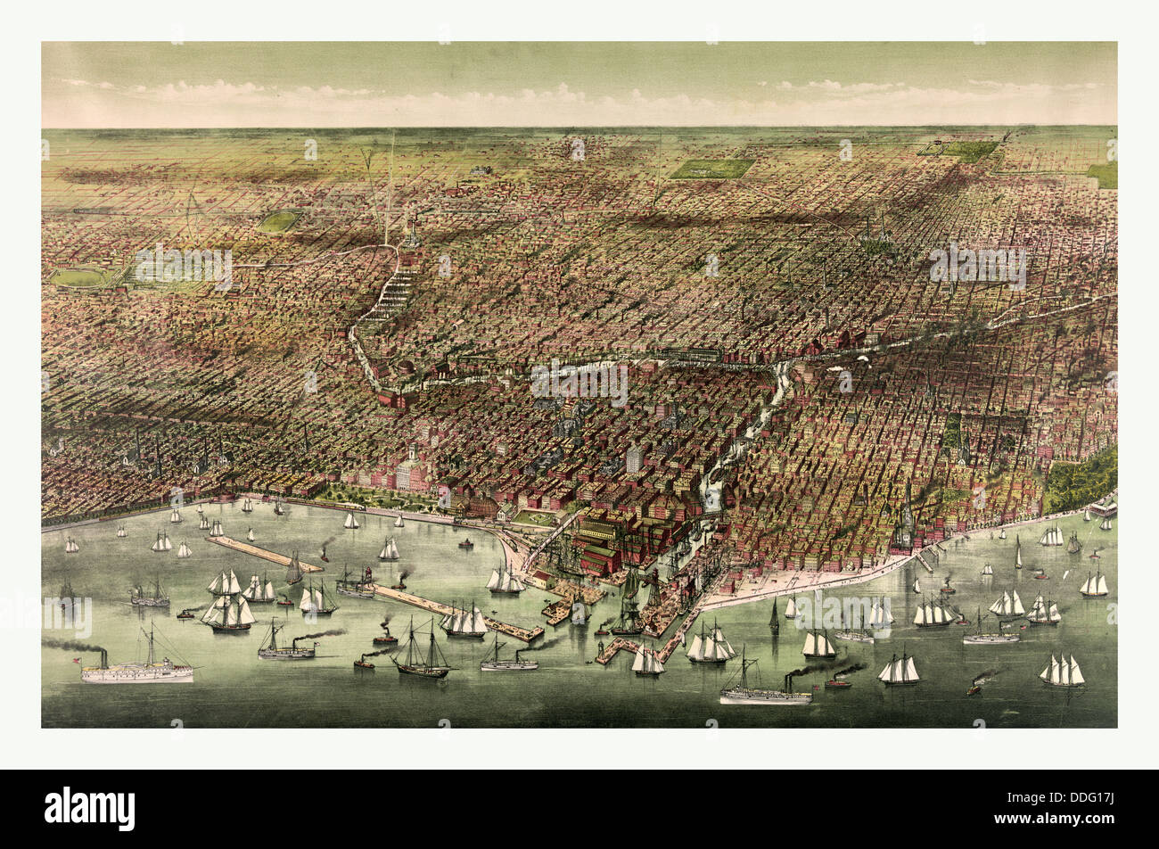 The city of Chicago by Currier & Ives circa 1892, US, USA, America - Stock Image
