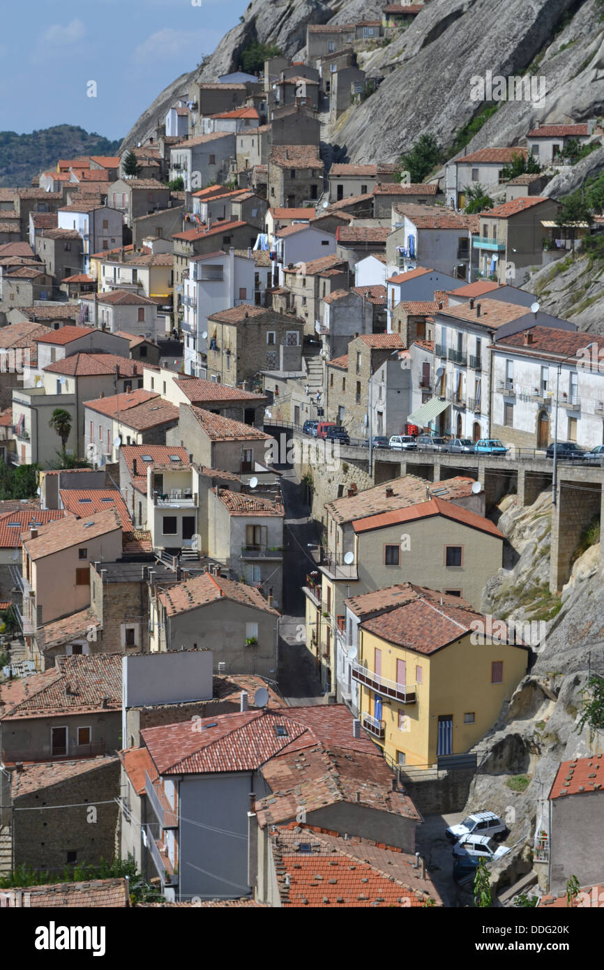 Houses, Pietrapertosa village, Basilicata, South Italy. In Gallipoli Cognato National Park. Dolomiti Lucane mountain Stock Photo