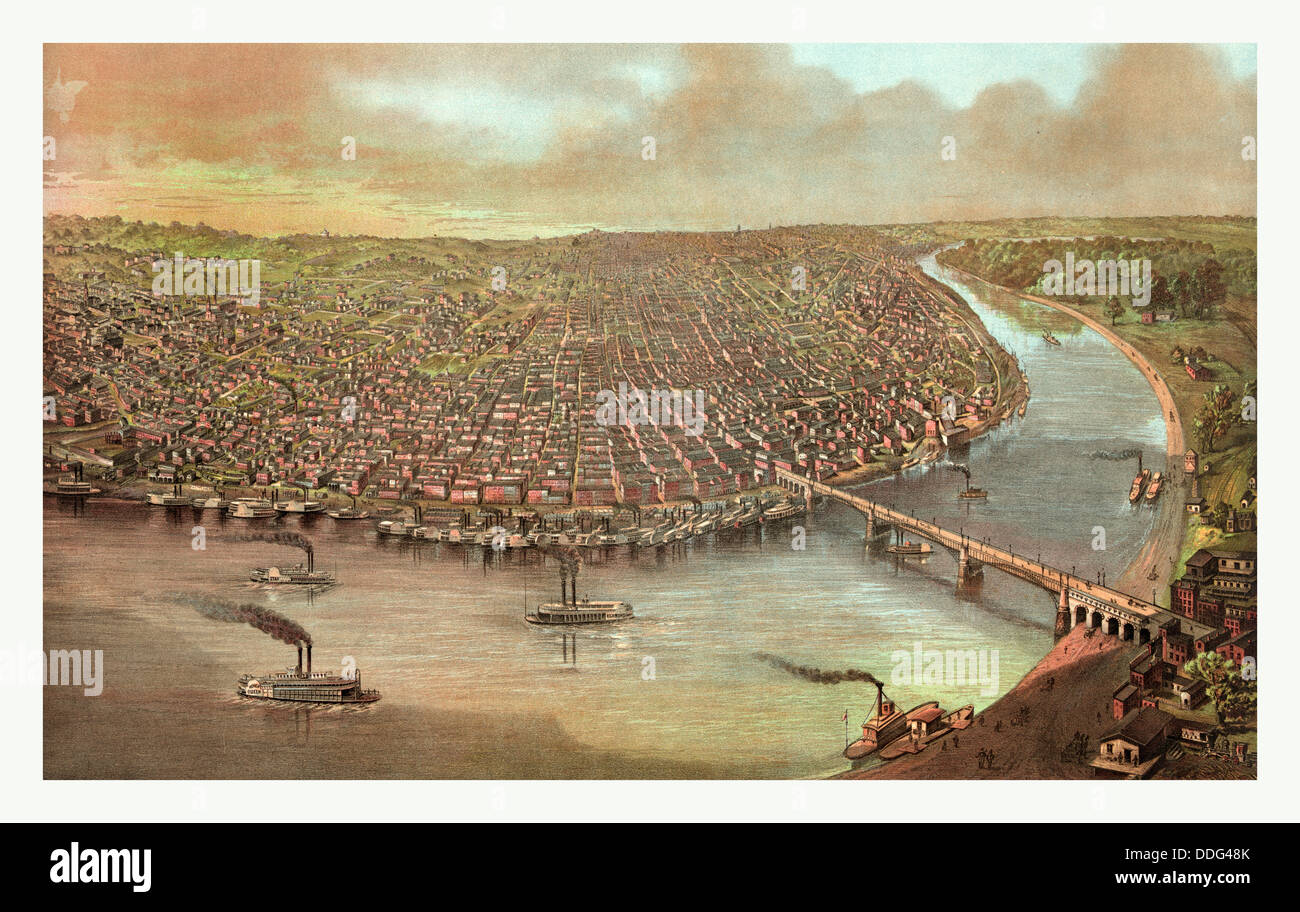 Bird's eye view of Saint Louis, Missouri as seen from above the Mississippi River, circa 1873, US, USA, America - Stock Image
