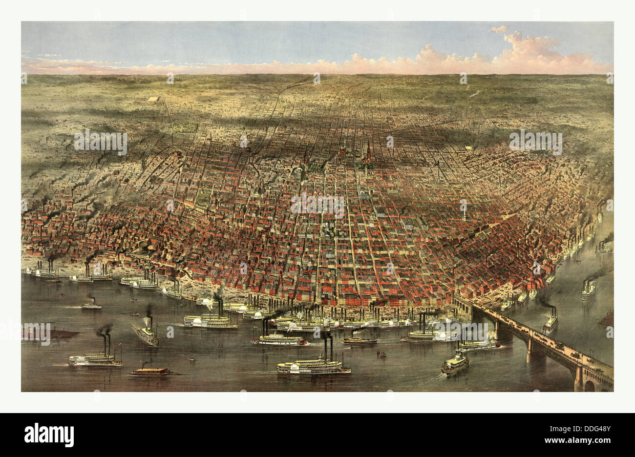 The city of St. Louis by Currier & Ives, circa 1874 - Stock Image