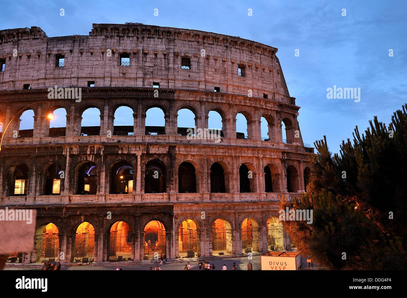 Colosseum at sunset photographed - Stock Image