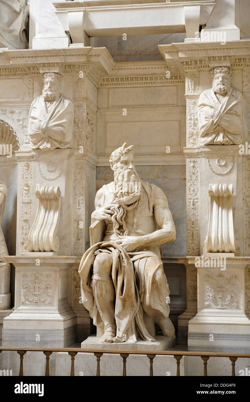 Moses, marble sculpture, by Michelangelo Buonarroti (1513-1515) Stock Photo