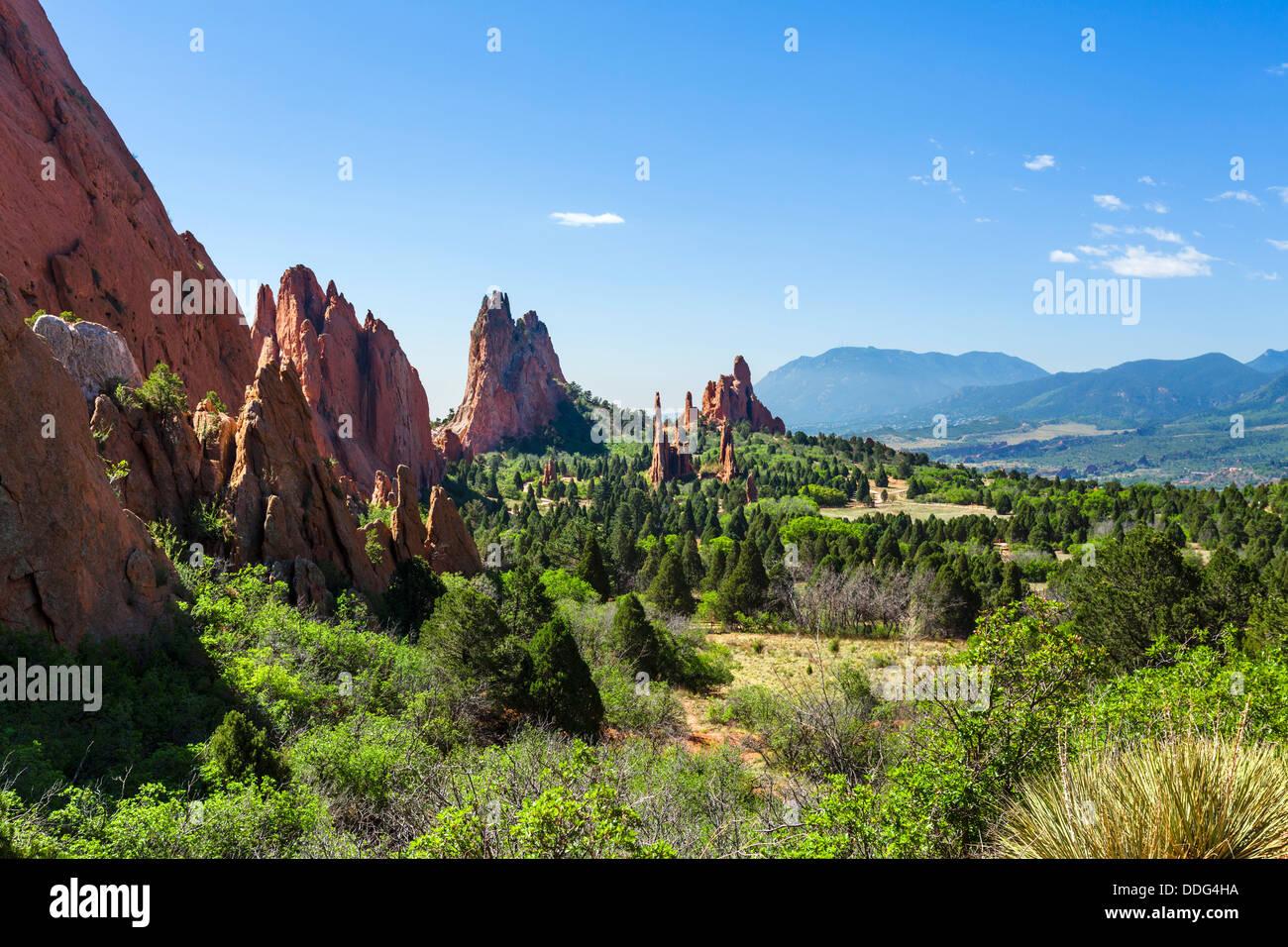 View from the road through Garden of The Gods public park, Colorado Springs, Colorado, USA Stock Photo