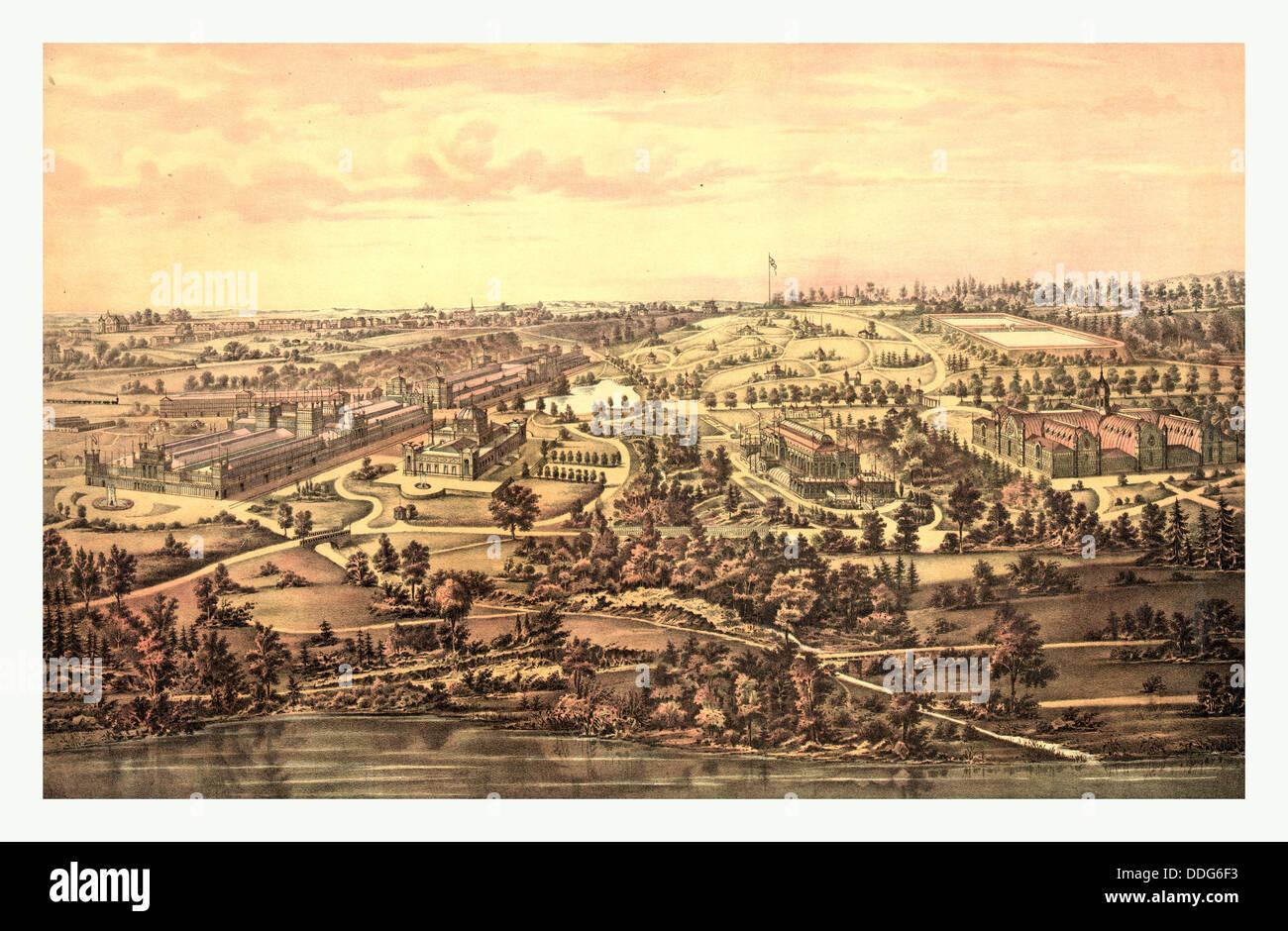 Bird's eye view, Centennial Buildings, Fairmount Park, Philadelphia by H.J. Toudy & Co., circa 1875, US, - Stock Image