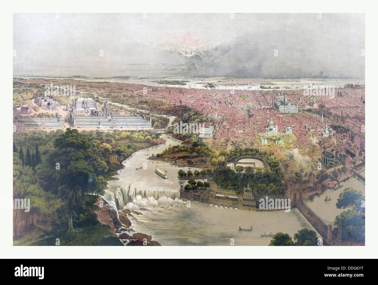 Birds eye view of Philadelphia & centennial grounds by John Bachmann,circa 1875, US, USA, America - Stock Image