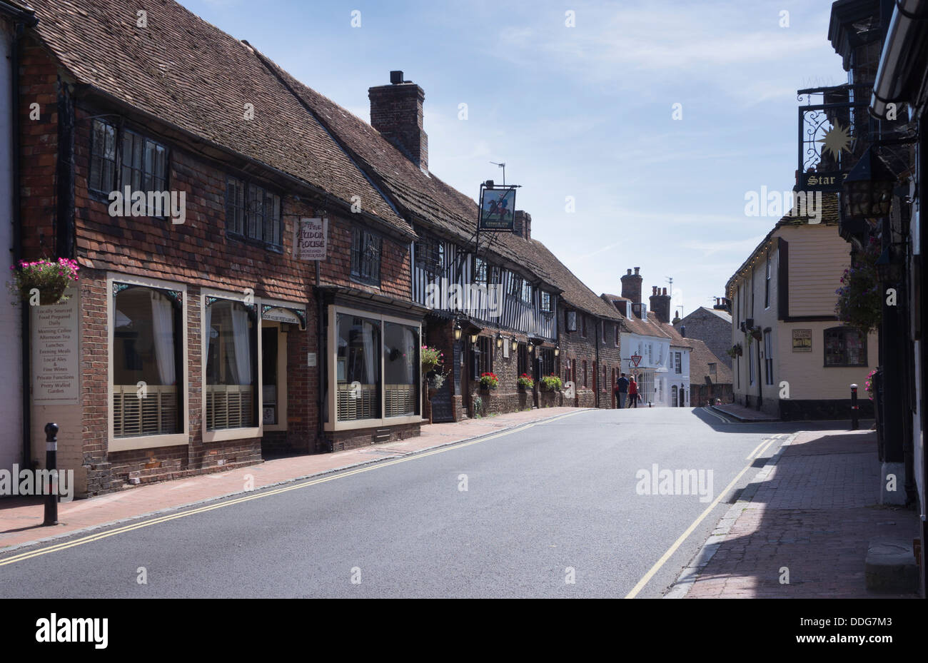 Tearooms and pubs on Alfriston village high street in East Sussex, England, UK - Stock Image