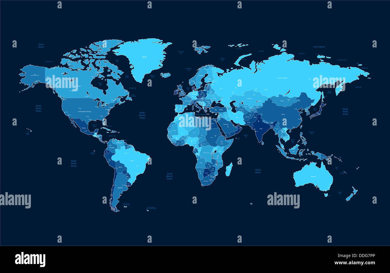 Detailed world map of blue colors on dark background stock photo detailed world map of blue colors on dark background gumiabroncs Choice Image