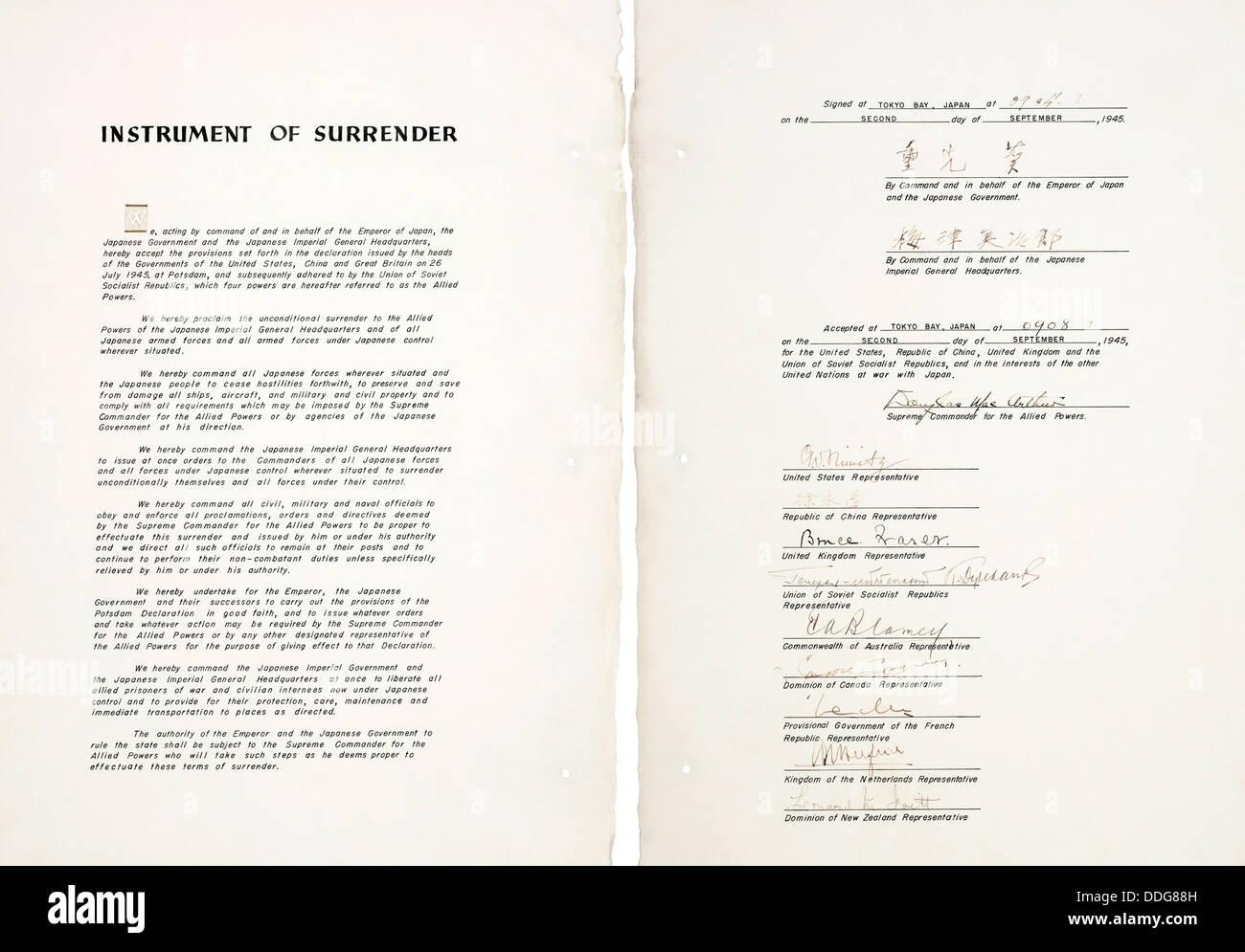 JAPAN INSTRUMENT OF SURRENDER document signed on USS Missouri in Tokyo Bay on 2 September 1945 - Stock Image