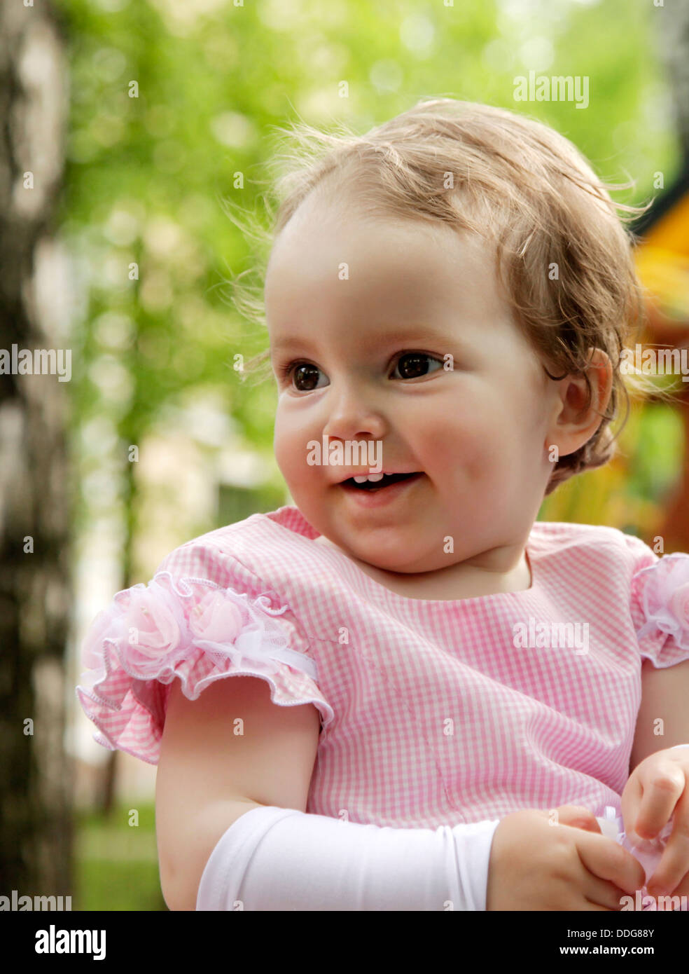 portrait of blond small girl - Stock Image