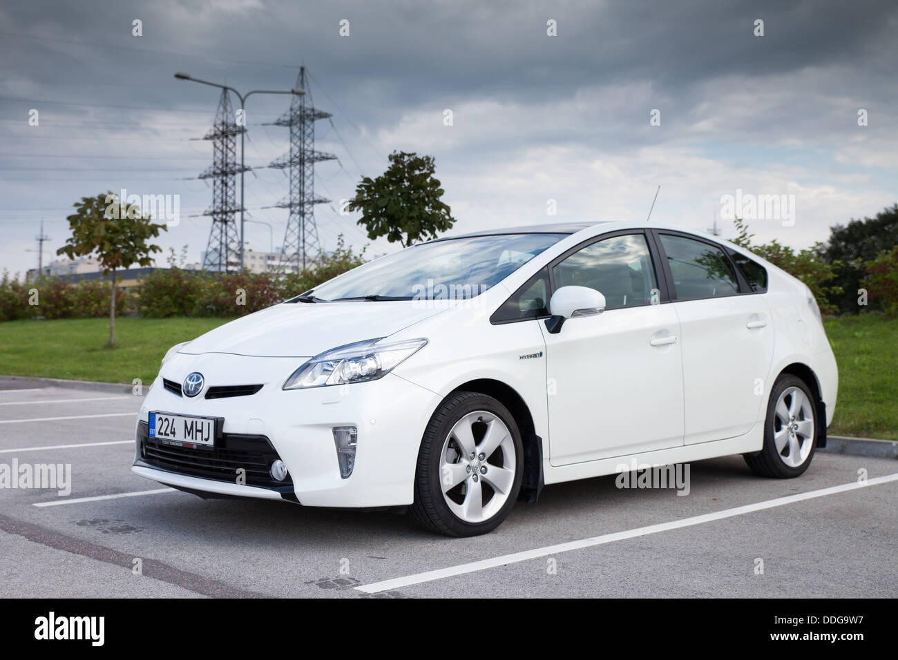 Toyota Prius Hybrid Car - model year 2012. Toyota is one of the leading manufacturers of hybrid technology cars - Stock Image