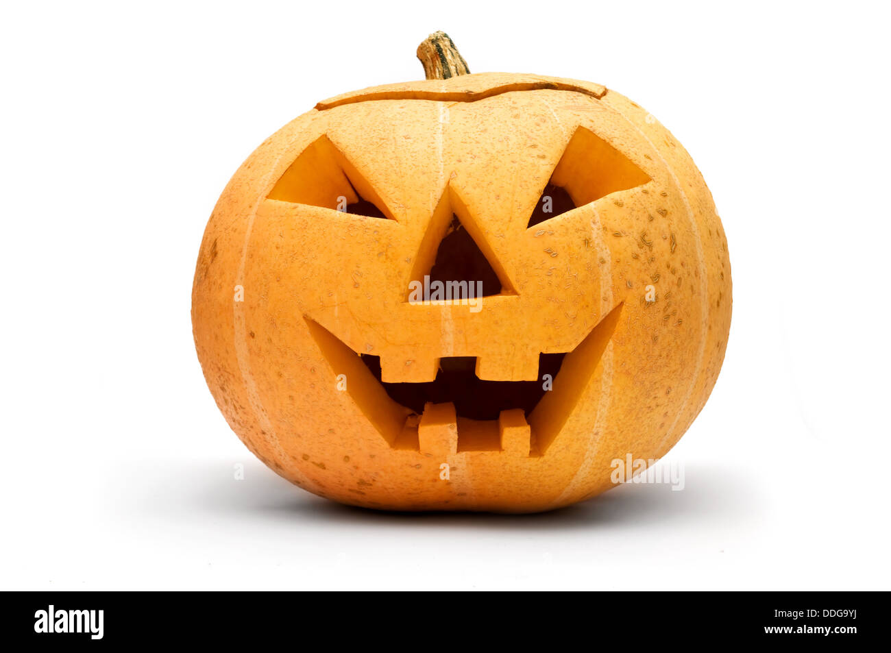 Halloween scary pumpkin face isolated on white - Stock Image