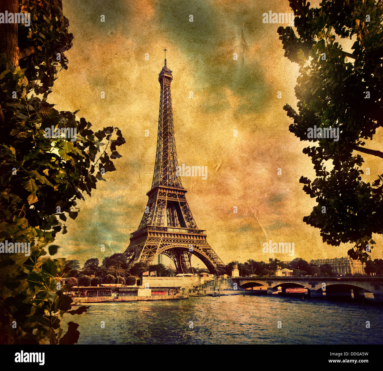 Eiffel Tower, Paris, France. Vintage, retro style art image - Stock Image