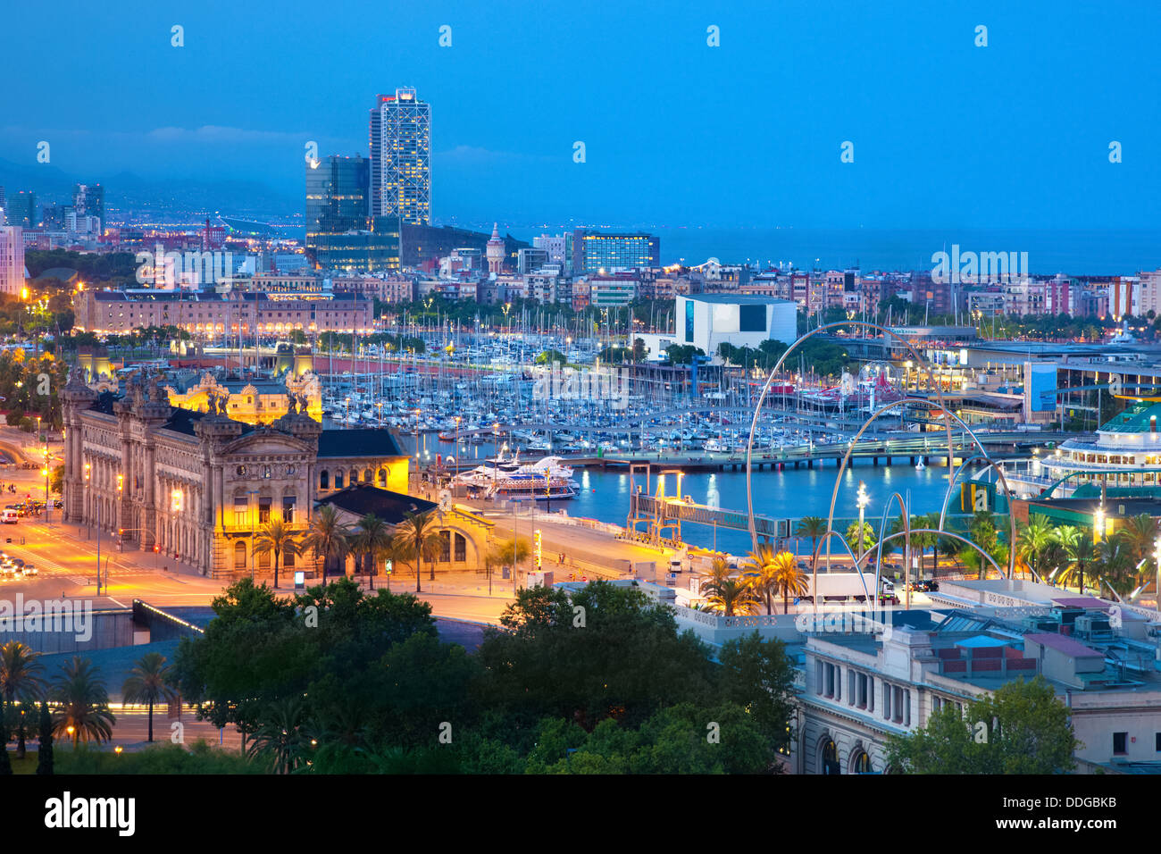 Barcelona, Spain skyline at night - Harbour view - Stock Image