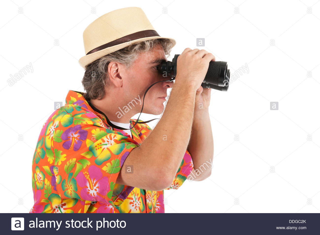 Tourist with spyglasses - Stock Image