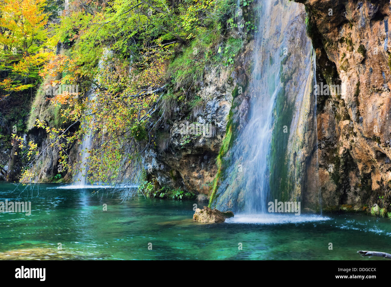 Waterfall in forest. Crystal clear water. Plitvice Lakes National Park, Croatia - Stock Image